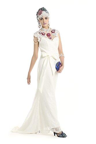 Polarfox Women's Long Mermaid Prom Wedding Dress Bridesmaid Dresses S White