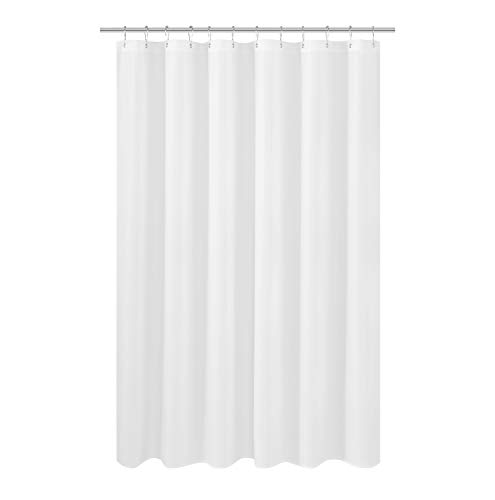N&Y HOME Longer Shower Curtain Liner Fabric 72 x 75 inches, Hotel Quality, Washable, White Spa Bathroom Curtains with Grommets, 72x75 (Long Curtain Shower 75 In)