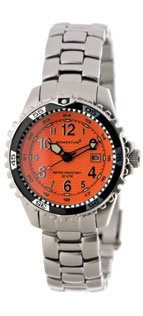 New St. Moritz Momentum M1 Women's Dive Watch (Squeeze) & Underwater Timer for Scuba Divers with Orange Dial & Stainless Steel Band/LID