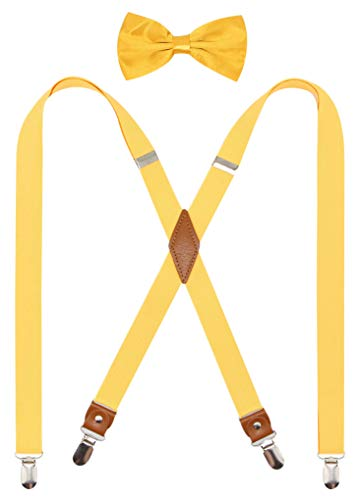 Timiot Mens Suspender and Bowtie Set X Back Heavy Duty Adjustable Elastic Clips Perfect For Work &Casual (Yellow)