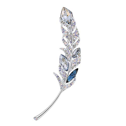 RAINBOW BOX Blue Leaf Brooches for Women, Elegant Crystals from Swarovski Jewelry, Rhinestone Brooches Pins for Mom Girls Birthday