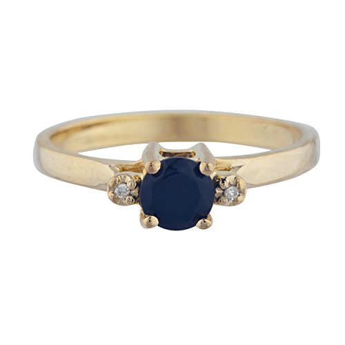 k Onyx & Diamond Round Ring 14Kt Yellow Gold Rose Gold Silver ()