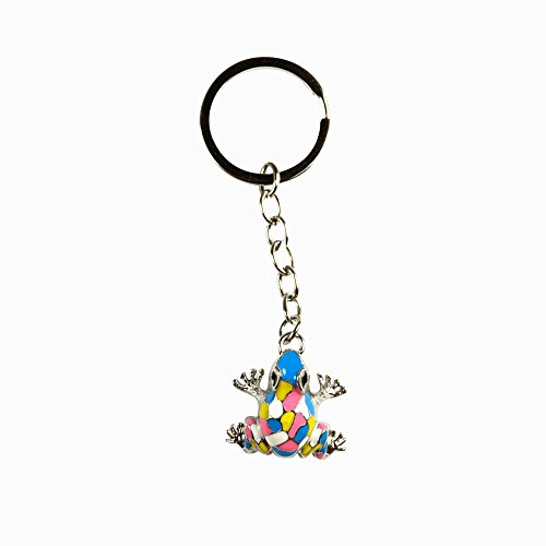 Keychain Porcelain - Gaudi Style Frog Keychain Zipper Pull Porcelain Enamel Glass Detail and Satin Nickel keyring - chain