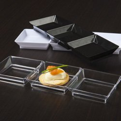 Clear Plastic Mini Triple Abyss Dish 10 Ct.