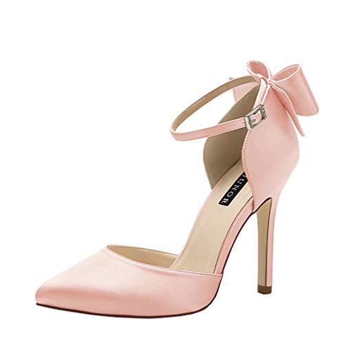 ERIJUNOR E1966A Women High Heel Bow Ankle Strap Evening Party Dance Wedding Satin Shoes Blush Size 6