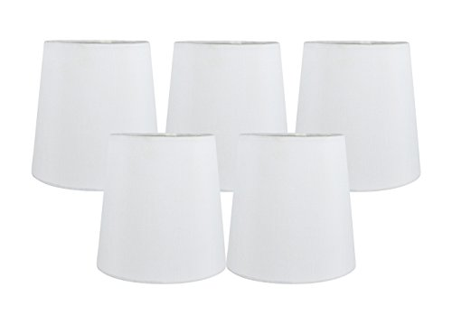 Meriville Set of 5 Off White Faux Silk Clip On Chandelier Lamp Shades, 4-inch by 5-inch by 5-inch (Silk Chandelier)