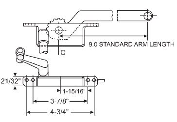(STB Casement Window Operator, Left Hand, Face Mount, Light Bronze, 9