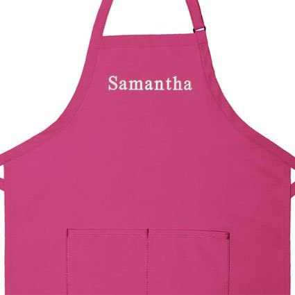 Cotton//poly High Quality Commercial Made in the USA Apron Personalized Apron Add Your Own Name Adult Regular 32 Long x 34 Wide Adult Bib Aprons 5 colors Add a Name Embroidered Design