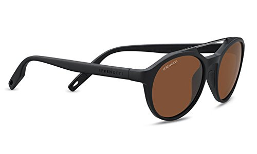 Serengeti Leandro Sunglasses Satin Black/Shiny Dark Gunmetal, Brown by Serengeti