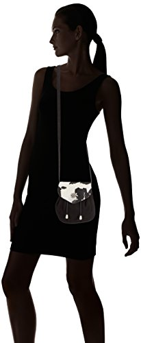 Bolso de Edelherz Negro Hombro Mujer Cuero de Kuhfell Beutel Negro qq47E