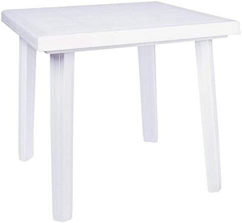 "Compamia Cuadra 31"" Square Resin Patio Dining Table in White, Commercial Grade"