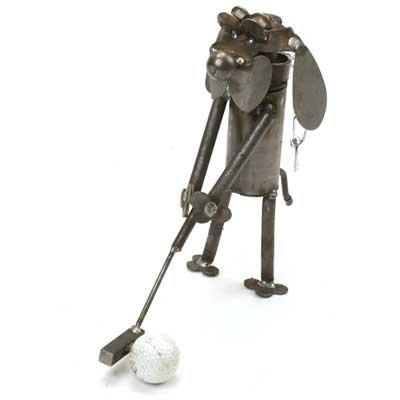 Mini Golfer Dog Recycled Metal Sculpture