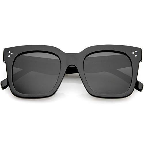 zeroUV - Bold Flat Lens Oversized Square Frame Horn Rimmed Sunglasses 50mm (Shiny Black/Smoke Polarized)