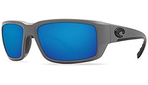 Costa Fantail Sunglasses & Cleaning Kit Bundle Matte Gray / Blue Mirror 580p