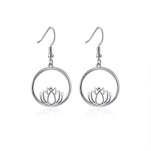 - YFN Lotus Flower Dangle Earrings, Hoop Earrings, Sterling Silver Earrings for Mom Women Wife Mother Day Birthday Gift
