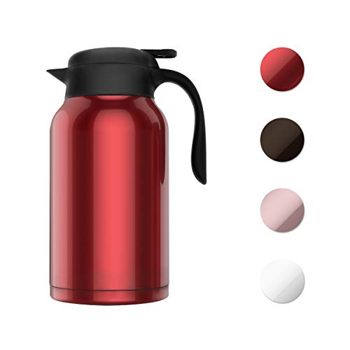 SDREAM 68 Oz Coffee Carafe Thermal Stainless Steel Double Walled Thermal Pots Hot Cold Beverage (Red) ()