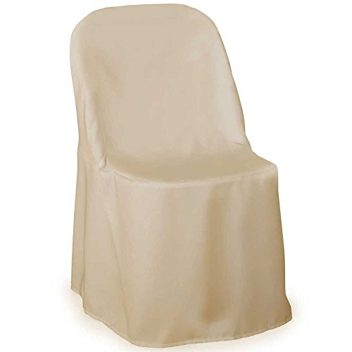 Lann's - 10 Wedding Folding Chair Covers - Ivory Polyester Cloth (Chair Folding Slipcover)