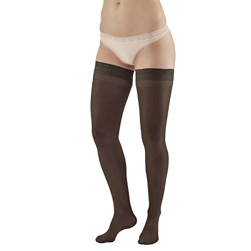 Ames Walker Womens AW Style 74 Soft Sheer Compression Thigh High Stockings w/Lace Band 8 15 mmHg Black Large 74 L Black Nylon/Spandex