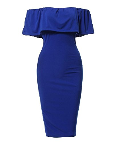 Women Dress Casual Leaf Coolred Lotus Solid Sexy Blue Collar Bodycon Off Shoulder RqAUUKxwB4