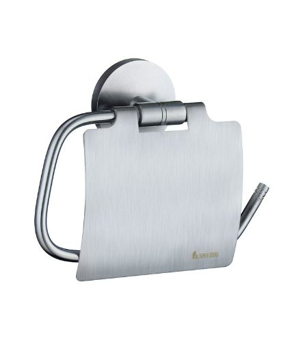 Studio Toilet Roll Holder Finish: Brushed Chrome, Type: With Lid