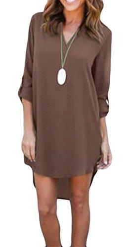 Big Tang Blouse Shirt V Long Dress Low Hi Womens T Sleeve Neck Coffee Chiffon 44qPrgdv
