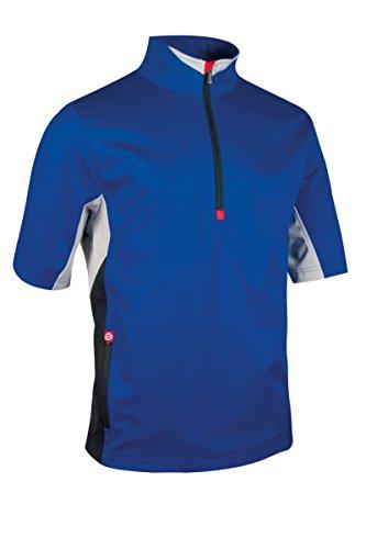 Sunderland Mens SUNMW69 Color Block Half Sleeve Zip Neck Golf Windshirt-Electric Blue/Black/Silver/Red-Large