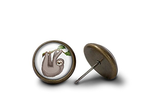 Tree Sloth Earrings (Antique-Finish) -