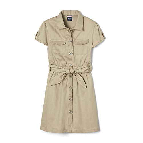 French Toast Little Girls' Twill Safari Shirtdress, Khaki, 5