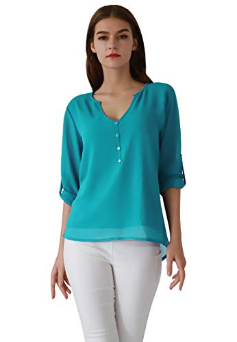 OMZIN Ladies T Shirt Embellished Jersey Pullover Clothes Tunic Blouses Sky Blue 2XL (Embellished Sleeve T-shirt Jersey Long)