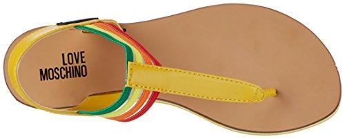 Love Moschino Damen T-Spangen Sandalen Silber (Yellow)