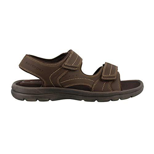 Rockport Men's Get Your Kicks Double Velcro Flat Sandal, Dark Brown Leather, 12 M US