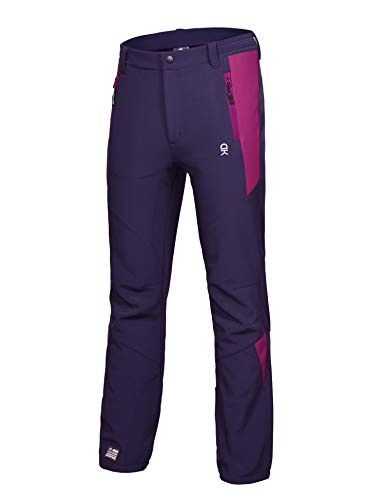 (Little Donkey Andy Women's Winter Hiking Ski Snowboarding Pants, Softshell Pants, Fleece Lined and Water Repellant Purple Size L)