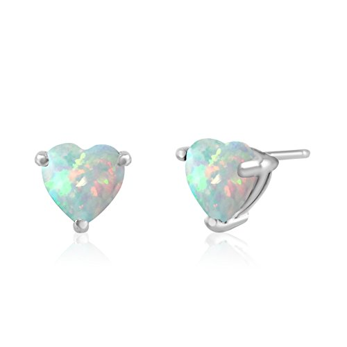 Sterling Silver Stud Earrings Rhodium Plated Synthetic Opal White 6x6mm Heart (Post Heart Shaped Opal Earrings)