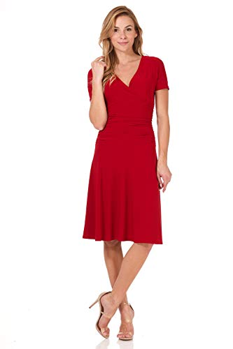 Rekucci Women's Slimming Short Sleeve Fit-N-Flare Crossover Tummy Control Dress (8,Cherry) ()
