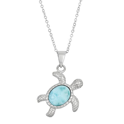 Sterling Silver Natural Larimar Turtle Pendant with 18 Chain