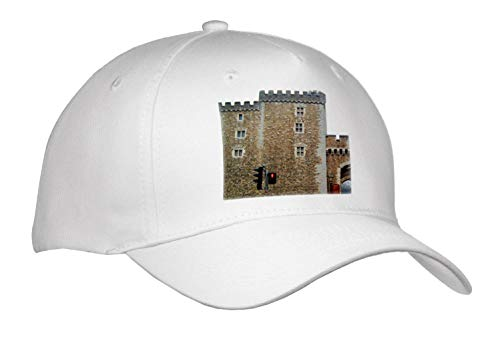 Jos Fauxtographee- Cardiff Wales Castle Wall - The Outer Walls of The Cardiff Castle in Wales on a Main Street - Caps - Adult Baseball Cap ()
