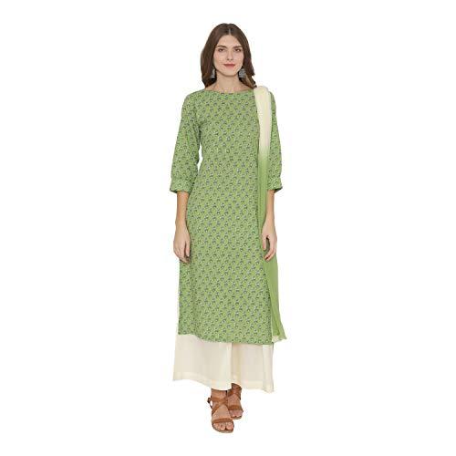 PinkShink Green Pure Cotton Kurta Palazzo Dupatta Set 315 (L)