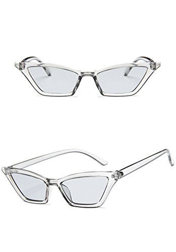 - Small Frame Skinny Cat Eye Sunglasses for Women Colorful Mini Narrow Square Retro Cateye Vintage Sunglasses by W&Y YING (grey)