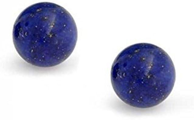Azul Oscuro Lapislázuli Piedras Preciosa Pendiente Boton Bocírculo Redondo Mujer Y Para Hombres Plata Esterlina 925 6Mm