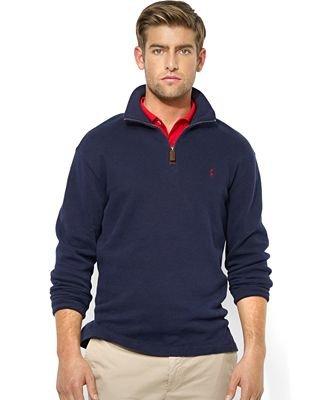 (Polo Ralph Lauren Mens Half Zip French Rib Cotton Sweater (Large, Navy))