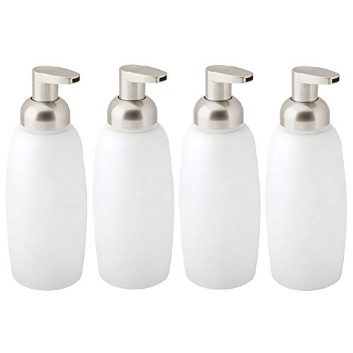 mDesign Modern Glass Refillable Foaming Soap Dispenser Pump Bottle for Bathroom Vanity Countertop, Kitchen Sink - Save on Soap - Vintage-Inspired, Compact Design - 4 Pack - Clear Frost/Satin