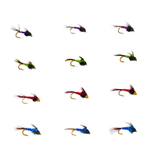 (Outdoor Planet 12 Lightning Bug Mayfly Nymph Trout Flies Lure Assortment for Wet Fly Fishing)