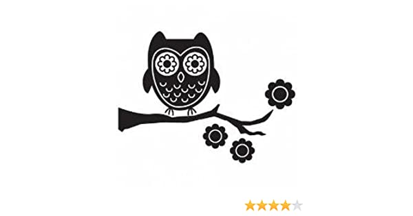Bloom Owl Vinyl Car Decal Black 5 By 5 Inches