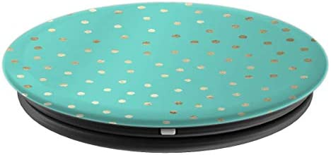 Aqua Mint Seafoam Golden Polka dot Solid Color Background - PopSockets Grip and Stand for Phones and Tablets