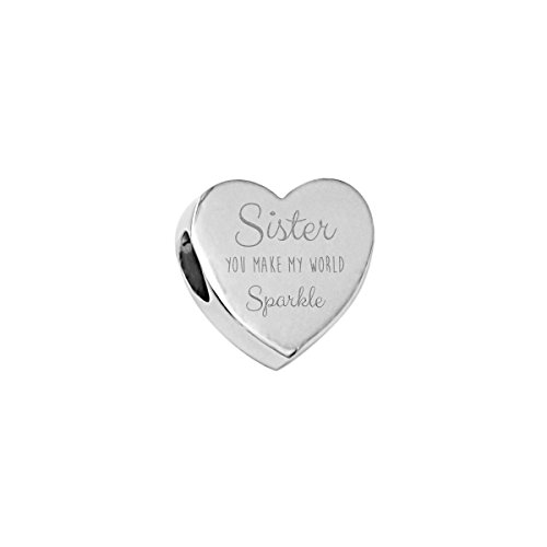 Truly Charming Sister Heart Charm For European Style Charm Bracelets With Sparkle Gift (Sister Charm)
