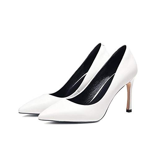 ZHZNVX Zapatos de Mujer Nappa Leather Winter Comfort Heels Stiletto Heel Blanco/Negro White