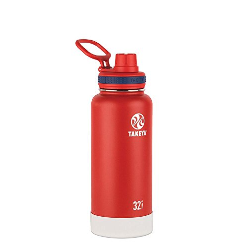 Collection Spout - Takeya Actives Insulated Stainless Water Bottle with Insulated Spout Lid, 32oz, Red (American Spirit Collection)