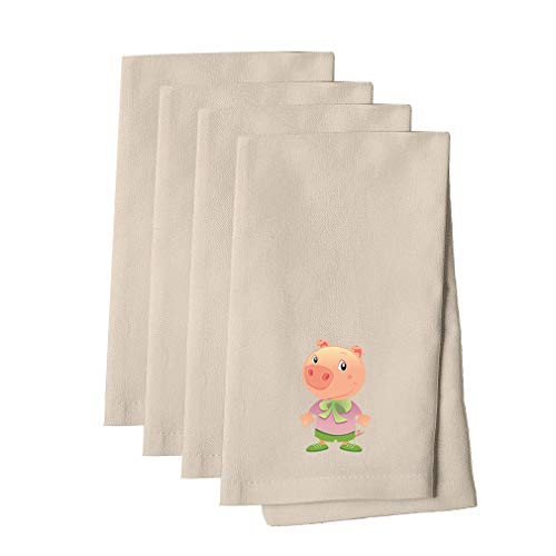Pig Dressed Up Animals Cotton Canvas Dinner Napkin, Set of 4 Cloth Napkin Set