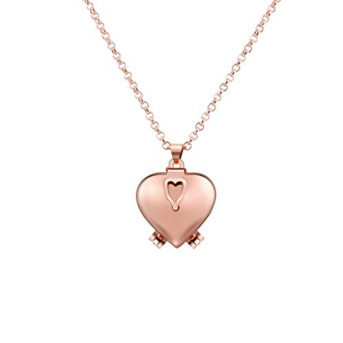 Heart Locket Necklace,Haluoo Creative Love Heart Expanding Expanding Photo Pendant Necklace Long Sweater Chain Necklace That Holds 4 Pictures Gifts for Women Girls Jewelry (Heart Pendant, Rose Gold)