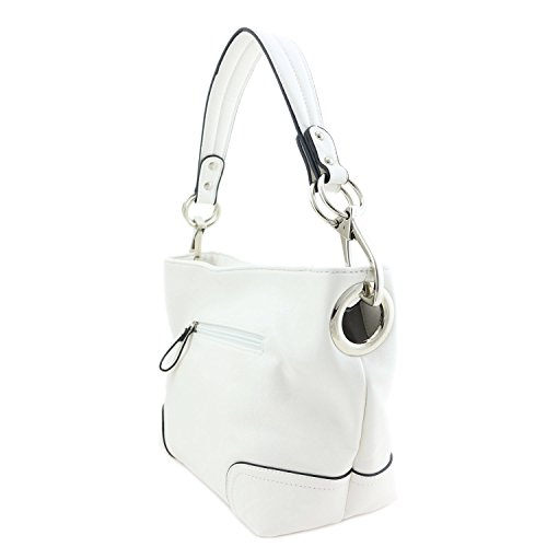 Shoulder Bag Hardware Small White With Hobo Hook Snap q8cwO6Pd